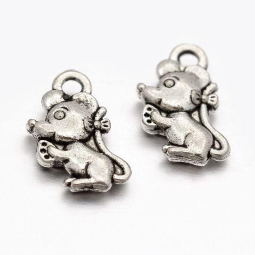 1198 20 Pièce pendentif breloques chaînes Souris Animal Mini ANTIQUE ARGENT neuf