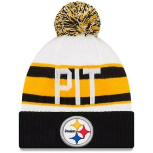 395141a6cfa Men s Pittsburgh Steelers New Era White Black Retro Cuffed Knit Hat ...
