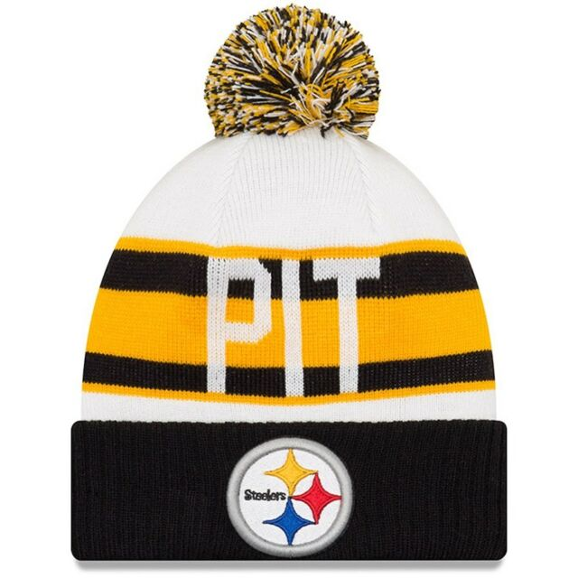 Men S Pittsburgh Steelers New Era White Black Retro Cuffed Knit Hat With Pom