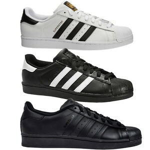 finest selection d69a3 6bbc7 Image is loading ADIDAS-ORIGINALS-SUPERSTAR-FOUNDATION -TRAINERS-BLACK-WHITE-ALL-