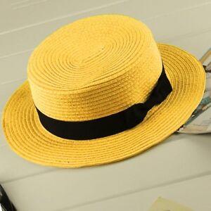 Children-Girls-Adult-Women-Summer-Sunscreen-Boater-Hat-Weave-Beach-Hat-KL