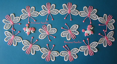 1 METER White & Pink Venise Butterfly Lace Trim or Appliques (Makes 19) Gorgeous
