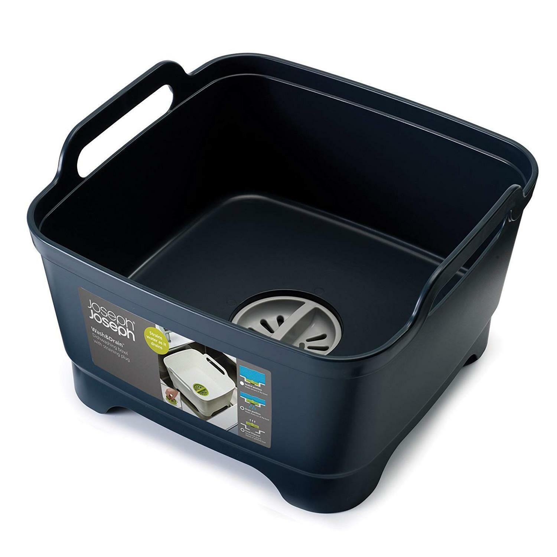 Joseph Joseph Wash & Drain Strain Washing Up Sink Bowl w  Removeable Plug - Grey