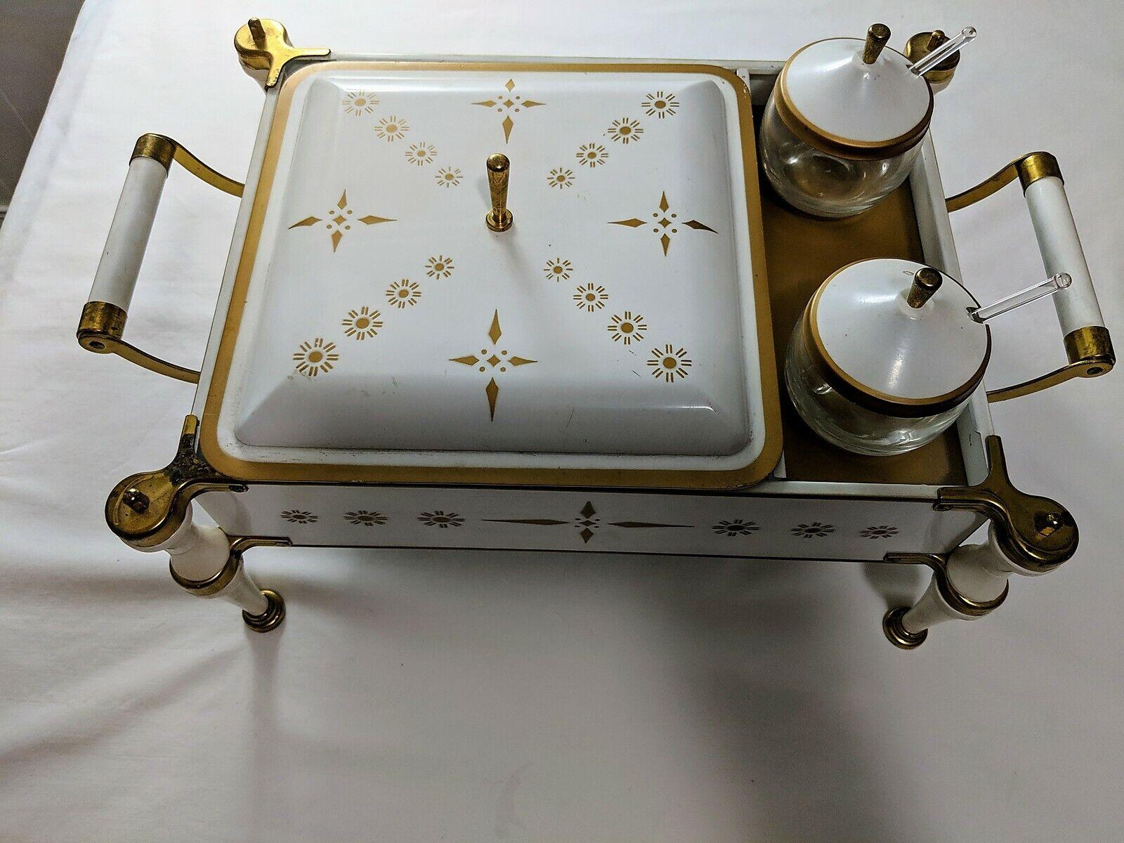 MID-CENTURY MODERN Brass frougeteHommest Dish Warmer livré avec 2 Couvercle CondiHommest Pots