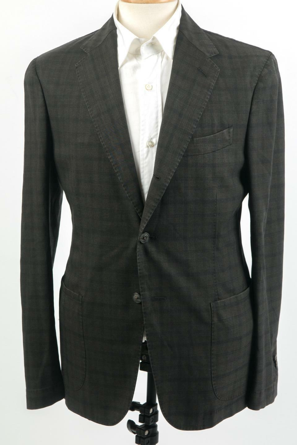 Boglioli New 1895 3 Roll 2 Button Virgin Wool grau Tonal Plaid Suit 48 IT 38 US