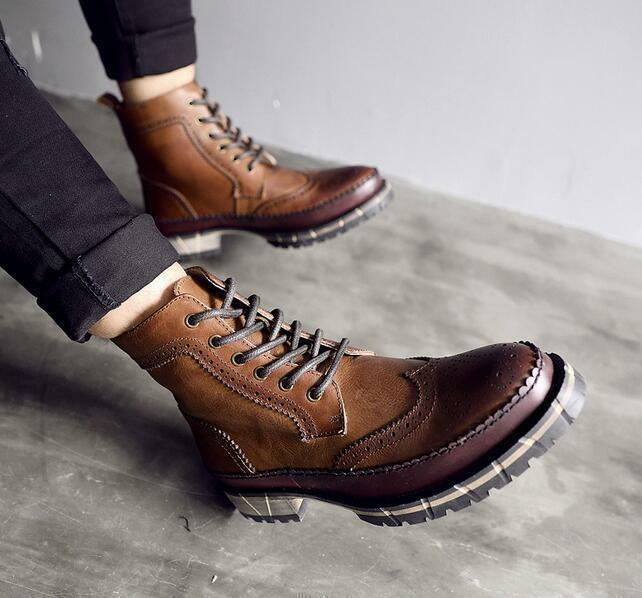 New Uomo British Retro Vintage Ankle Stivali Lace Up Shoes Brogue Pelle Wing Tip