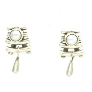 Details About Sterling Silver Pearl Pagoda Shape Stud Earrings Designer Flower Mark Signed