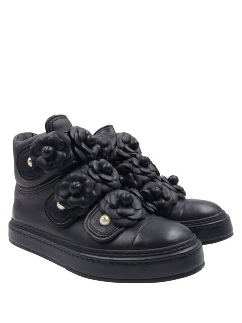 Chanel Navy Blue Leather Black Trim Camellia Pearl Logo Sz36/6 High Top Sneakers