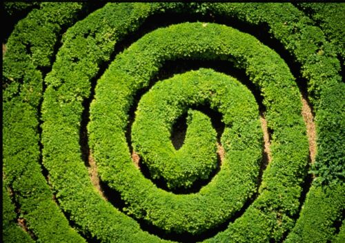 Art print POSTER / CANVAS Aerial View of Spiral Hedge Maze