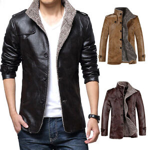 Winter Men S Warm Jacket Leather Coat Fur Parka Fleece Jacket Thick