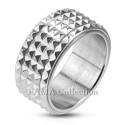 10mm Stainless Steel Spinner Ring w// Flat Matte Center Band