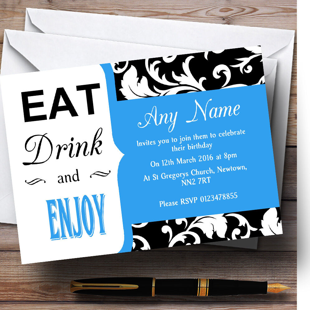 Sky Bluee Damask Eat Drink Personalised Birthday Invitations Vintage Party Oaxgzq1198 Cards Stationery