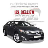 Smoke Window Vent Visor Rain Guard Sun Shield Tape On For Toyota Camry 12-14