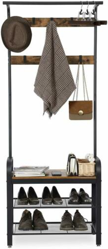 Industrial Hat /& Coat Stand Hall Shoes Rack Umbrella Bag Stand w// Removable Hook