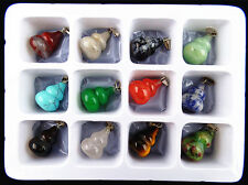 9PCS Beautiful unique mixed color mixed stone carved magatama pendant bead Vk437