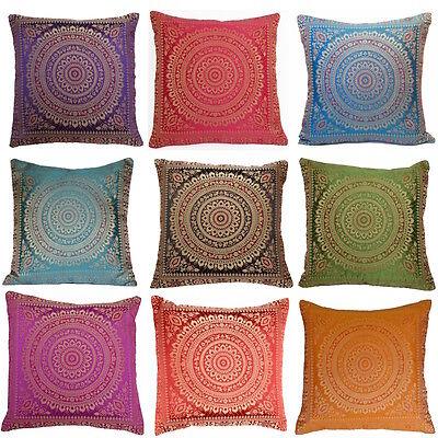 """FAULTY Mandala Cushion Covers Antique Style Banarasi Ethnic Indian 15"""" 38cm"""