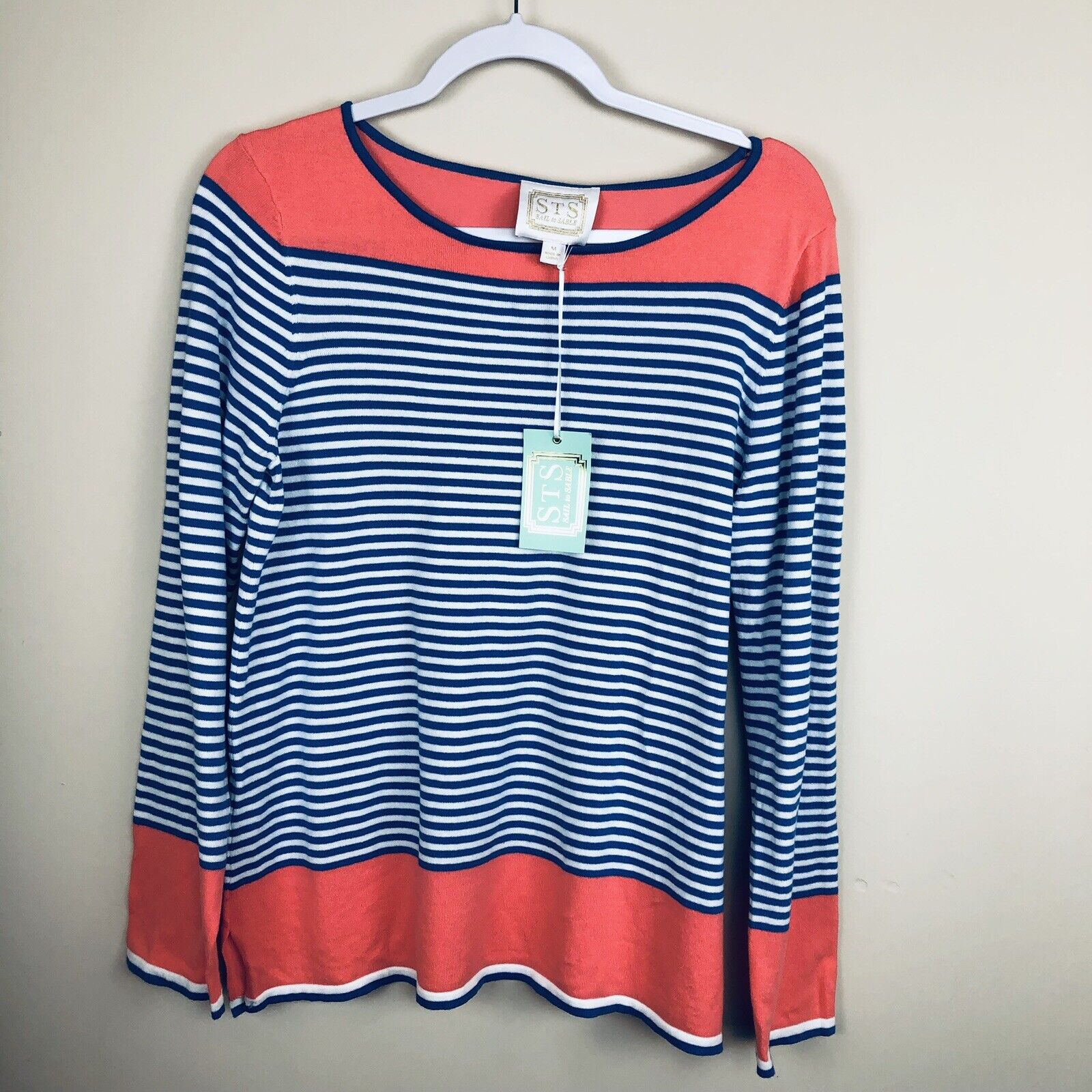 STS NWT Sail To Sable bluee Coral Striped Light Sweater Women's Size Medium 16714