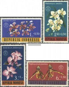 Indonesia-376-379-complete-issue-unmounted-mint-never-hinged-1962-Orchids