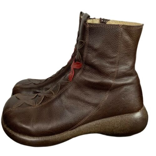Womens Brown Leather Ankle Boots US 8 EUR 39 Zip C