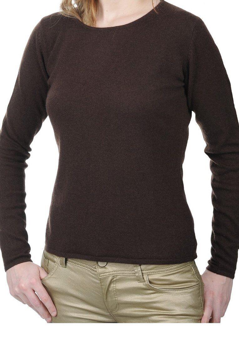 Balldiri 100% Cashmere Damen Pullover Rundhals 2-fädig cappuccino L