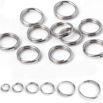 Un montón de chapado en plata de doble lazo Split abierto saltar anillo Conector 4//5//6 14 Mm 8//10//12