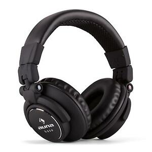 CASQUE-AUDIO-PLIABLE-AUNA-ARCEAU-INOX-REGLABLE-ECOUTEUR-DJ-STUDIO-MP3-iPOD-NOIR