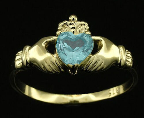 R148 Genuine 9ct or 18K Gold Natural Topaz Claddagh Ring Friendship Love