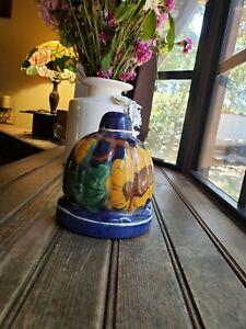 Vintage-Ceramic-Pottery-Wall-Pocket-Hanging-Vase-Planter-W-Artist-Signature