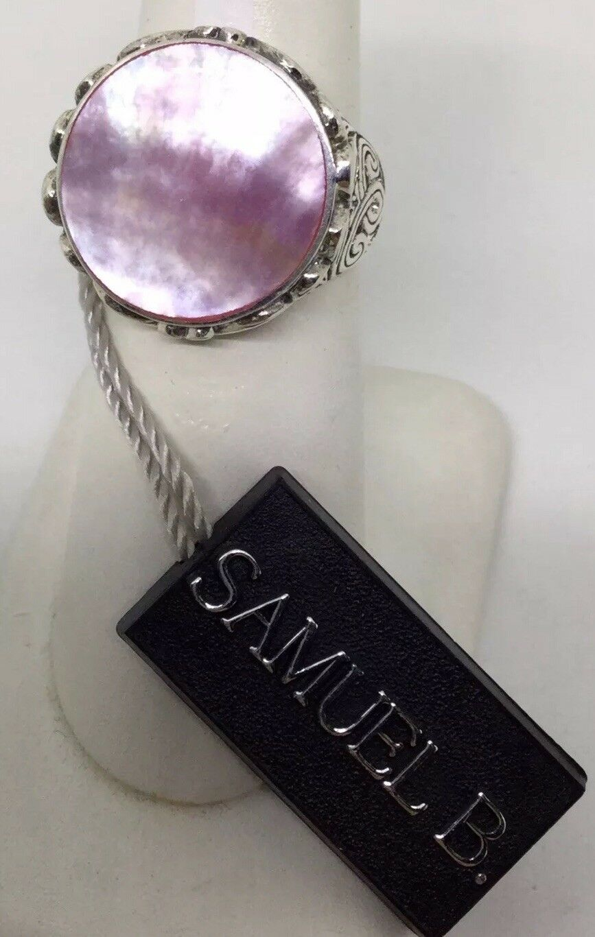 SAMUAL B. STERLING PINK MOTHER OF PEARL RING SIZE - 7 (S139)