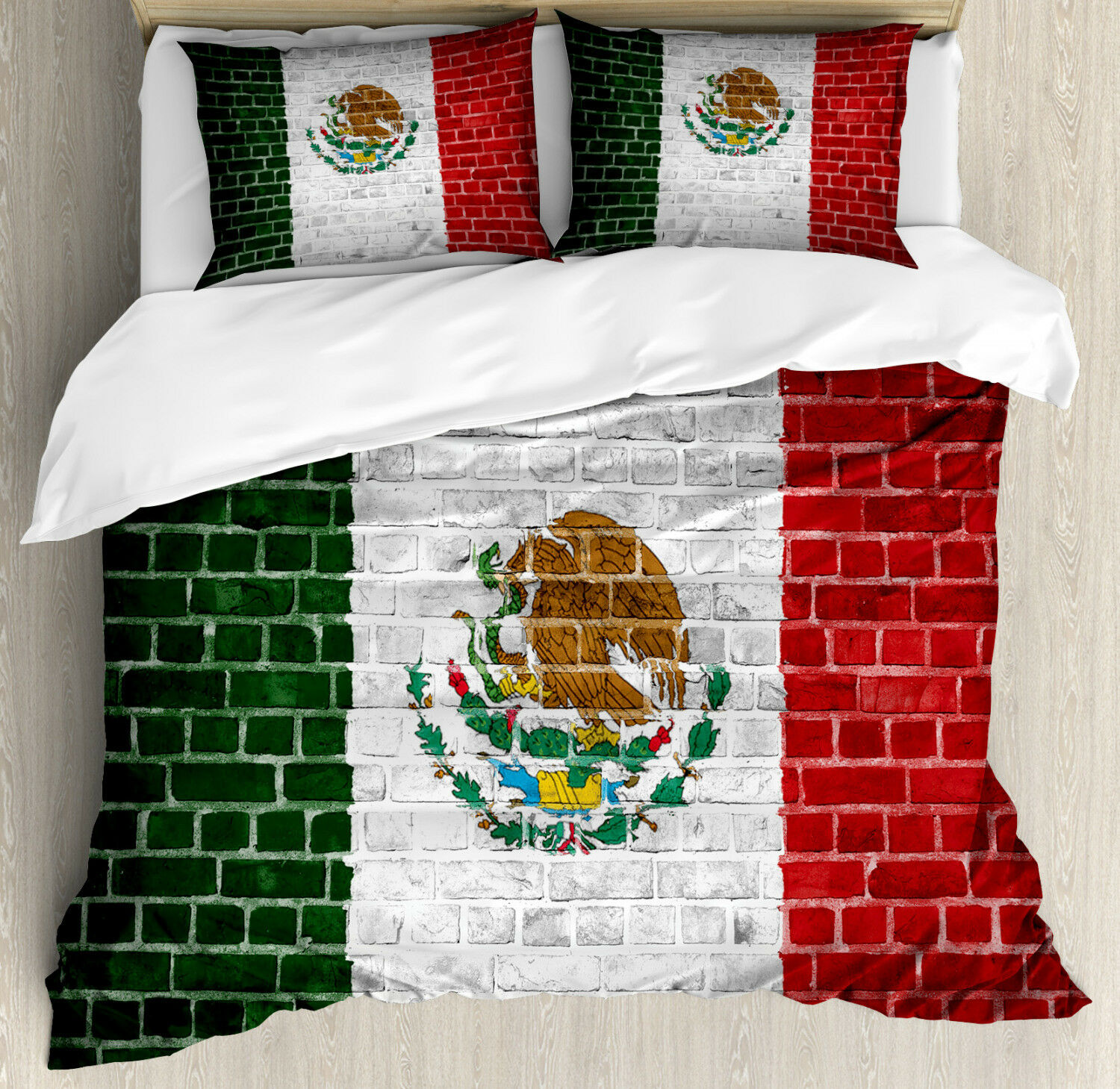 Mexica Duvet Cover Set with Pillow Shams Latina Country Flag Print
