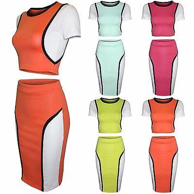 Flight Tracker New Womens Ladies Bodycon Crop Top Pencil Midi Skirt Tops T Shirt Summer Skirts