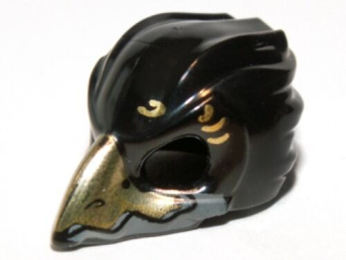Black Headgear Mask Bird with Gold Beak /& Gold Markings LEGO Minifig