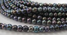 6 to 7 mm Large Hole Potato Freshwater Pearl Peacock Color 1.8 mm Hole  (#09)