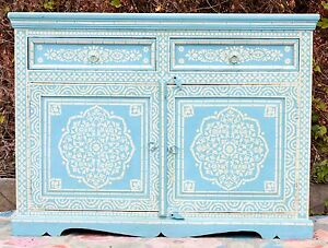Delicieux Details About Antique Indian Bone Inlay Blue Hand Painted Buffet Moroccan  Sideboard Cabinet