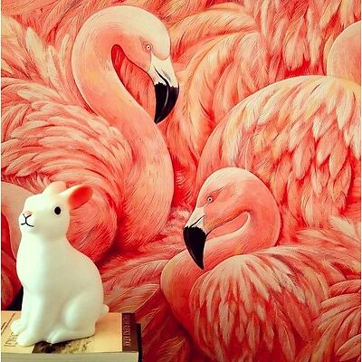 Extravagant Glamour Pink Flamingos Textured Blown Vinyl Wallpaper - 10m