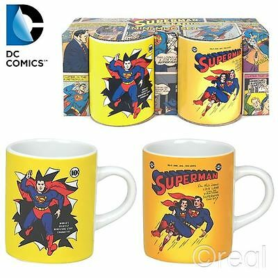 DC COMICS SUPERMAN AND LOIS LANE TWIN PACK SET MINI COFFEE ESPRESSO MUGS
