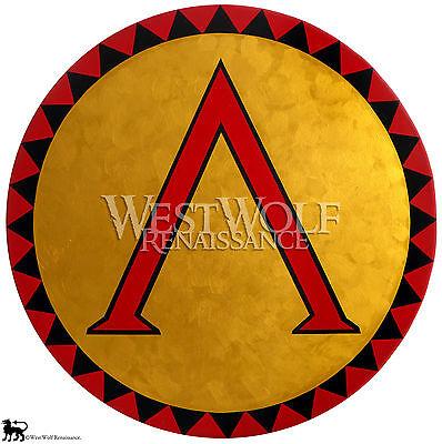 Round Gold Greek Lambda SHIELD -- sca/larp/spartan/300/troy/wooden/metal/armor