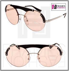9d56a105ce51 PRADA ORNATE ROUND Brow Bar Sunglasses 52U Gold Pink Black PR52US ...
