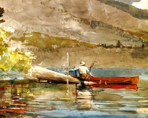 Fishing by Winslow Homer 8x10 Print Angling Boat Canoe Outdoors Sportsman 0016