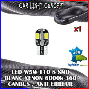 1-x-ampoule-Veilleuse-LED-W5W-T10-Canbus-BLANC-XENON-6000k-voiture-moto-8-smd