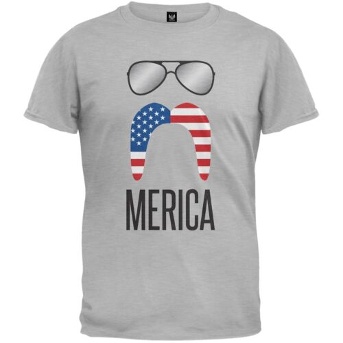 Merica Sunglasses and Mustache Adult Mens T-Shirt