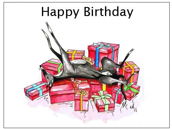 Birthday Card Greyhound Whippet Lurcher Italian Dog Gift