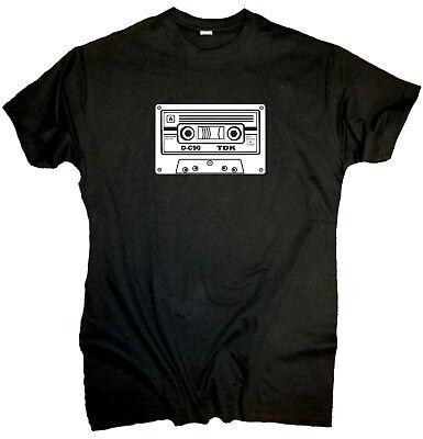 Schwarz oder Weiss Kassette T-Shirt Cassette MC 80er Jahre Retro Oldschool