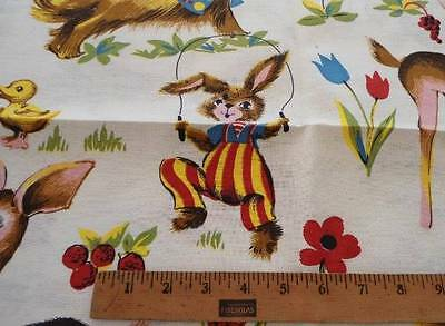 3 Yards Vintage 50s Cotton Nursery Fabric Pink Deer Rabbit Red Teddy Bear Childs