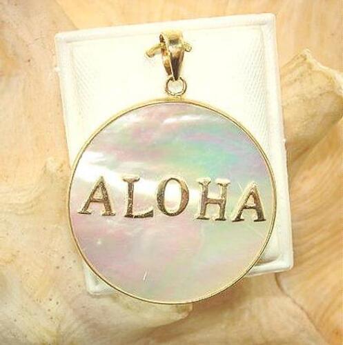 26mm Hawaiian 14k Yellow Gold Frame ALOHA White Mother of Pearl Pendant