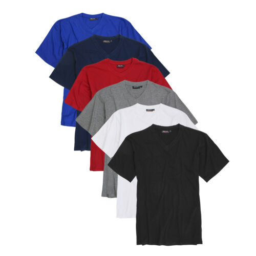 Shirt Herren Kurzarm Shirts V-Ausschnitt Unifarben in Übergrößen 3XL 4XL 5XL 6XL
