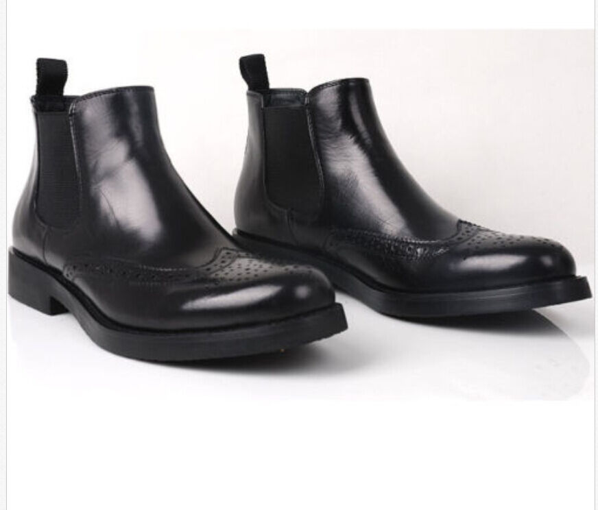 Clásico para hombre de negocios de cuero en la ala formal de la punta del ala la zapatos  Macho Botas Vestido 135a89