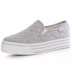 US5-9 Fashion Canvas Casual SLIP-ON Platform Sneakers Flats Womens ...