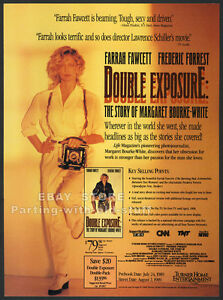 DOUBLE-EXPOSURE-Orig-1990-Trade-print-AD-FARRAH-FAWCETT-Margaret-Bourke-White
