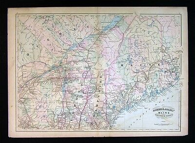 1872 Asher & Adams Map - Maine New Hampshire Vermont New York Quebec Canada  USA | eBay